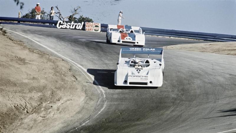Porsche 917/10  dives in the Corkscrew at the Laguna Seca