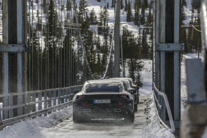 Porsche Taycan during endurance tests in Scandinavia