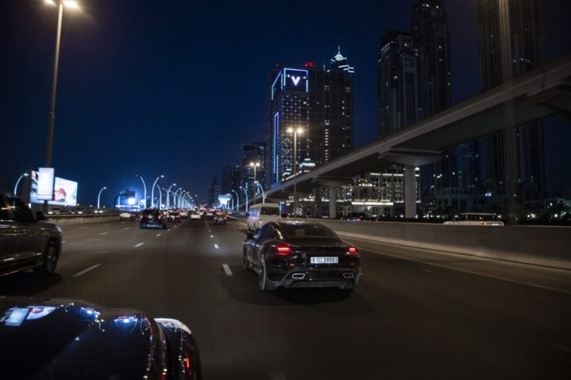 Porsche Taycan in Dubai during hot weather tests at night