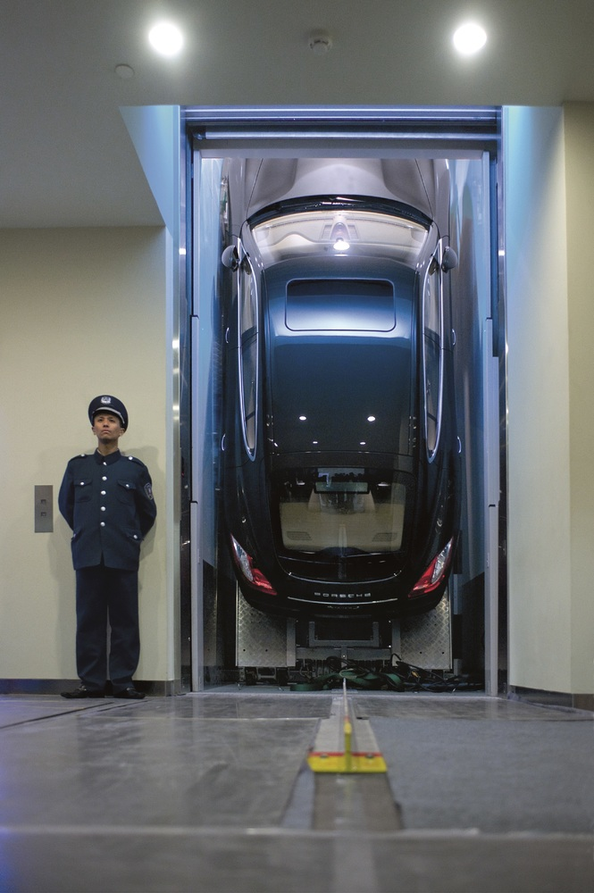 High up in Shanghai- the Panamera (G1) on its way to the world premiere in 2009