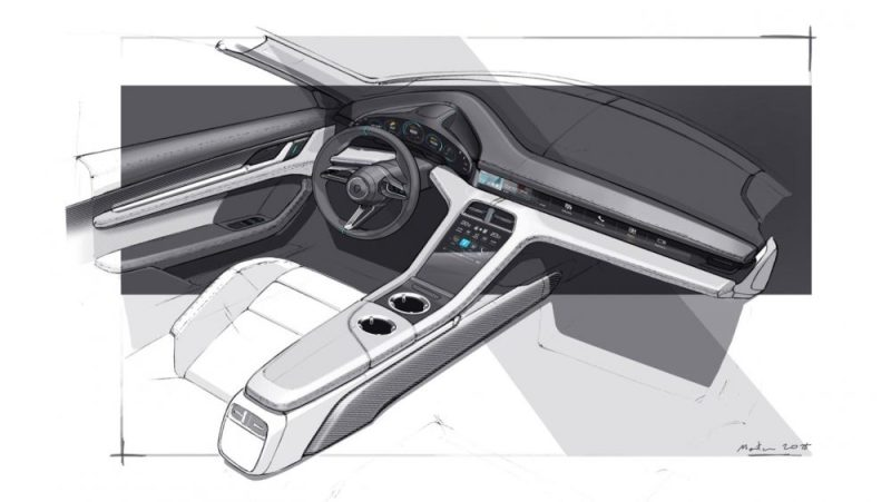 Design sketch of the interior of the Porsche Taycan
