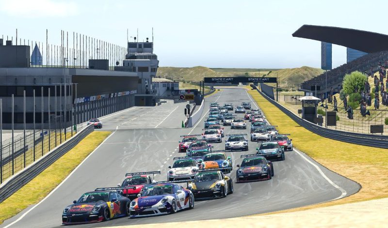Porsche 911 GT3 Cup, Graham Carroll (GB), number 21; Tommy Ostgaard (N), number 58, Porsche TAG Heuer Esports Supercup, 2020, Main Race