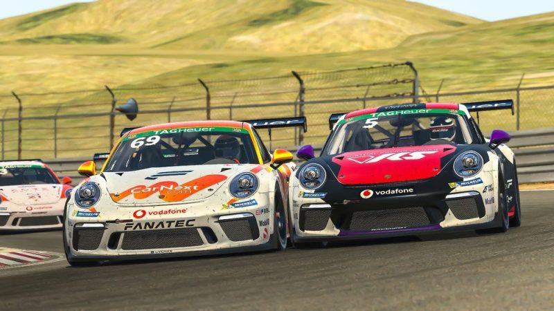 Porsche 911 GT3 Cup, Martin Krönke (D), number 5; Max Verstappen (NL), number 69, Porsche TAG Heuer Esports Supercup, 2020