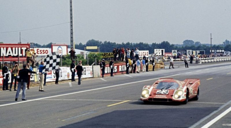 Hans Herrmann takes checkered flag at the 1970 Le Mans 24H, the first overall victory for Porsche at Le Mans