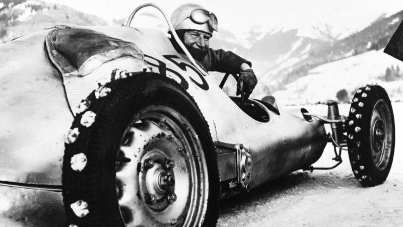 Otto Mathé in his Fetzenflieger at the Ferdinand Porsche Memorial Ice races in Zell-am-See