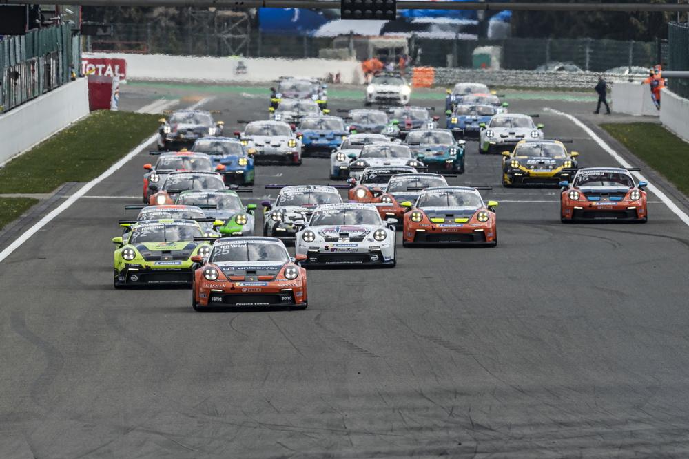 Larry ten Voorde takes chequered flag in 1st race of the Porsche Carrera Cup Deutschland in Spa.