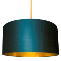 Petrol Lampshade with Gold Lining