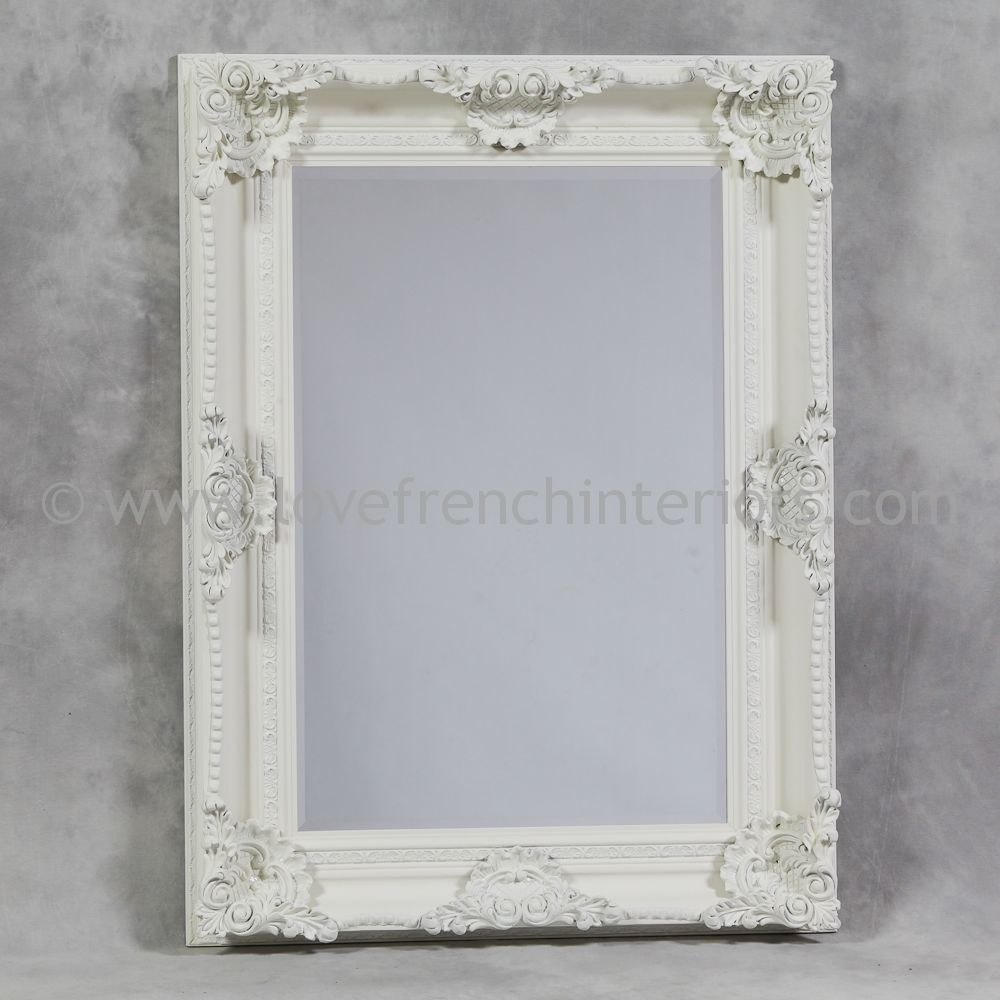 french white dining chairs room sets with wingback antique rectangular classic framed mirror