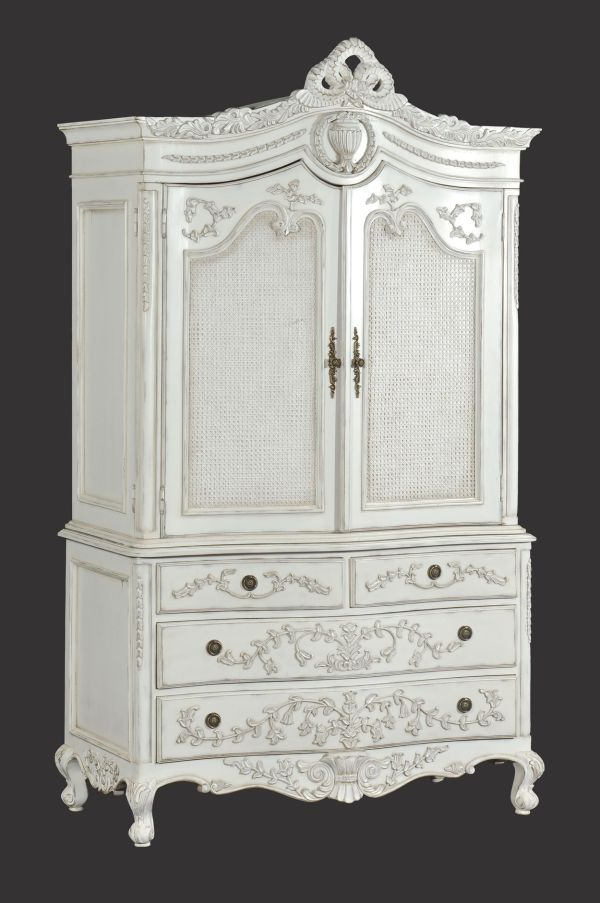 Distressed Linen Cabinet White