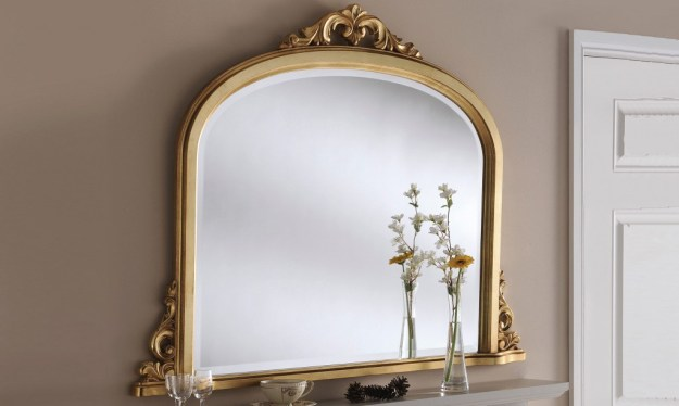 Ornate French style living room mirror