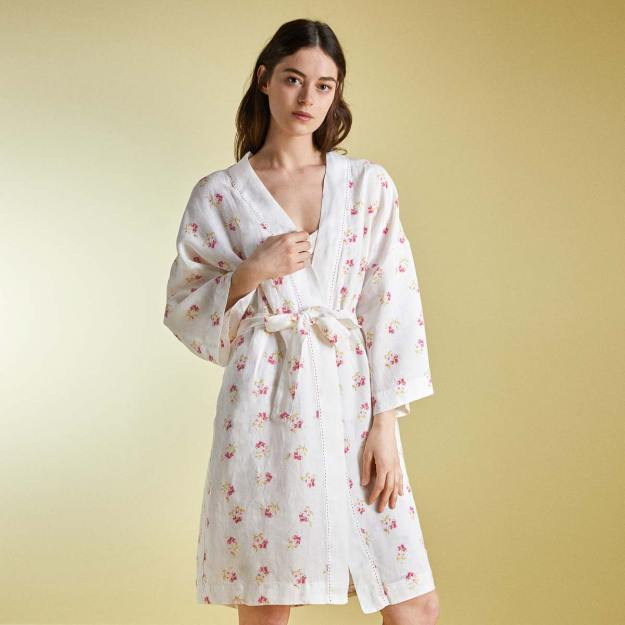 Natural linen spring dressing gown