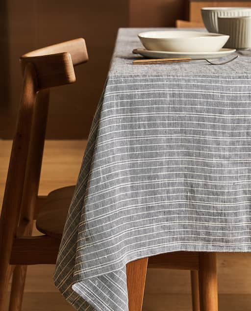 French stripe tablecloth