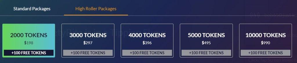 Cams.com high roller token rate