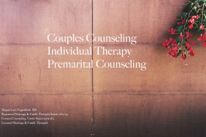 """A wall with bright red flowers hanging from the side & the text """"couples counseling, individual therapy, premarital counseling"""". Contact Love Heal Grow for online couples therapy and marriage counseling in California. We would be happy to support you."""