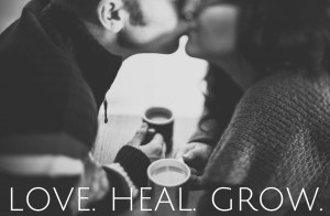"""A couple kisses while holding cups of coffee. The text at the bottom reads """"Love. Heal. Grow."""" We offer online couples therapy and marriage counseling in California. A sex therapist in Sacramento, CA would be honored to support you!"""