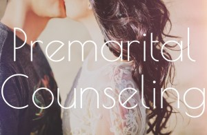 """A couple kiss as the text """"premarital counseling"""" fills the screen. We offer online couples therapy and marriage counseling in california. Contact an online therapist to learn more!"""