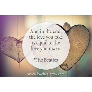 """Carved heart background with the text """"and in the end, the love you take is equal to the love you make. -The Beatles"""". Love Heal Grow offers online couples therapy and marriage counseling in California. Contact a Sacramento therapist for support with online anxiety therapy and other services."""