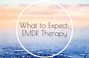 """A pastel graphic with the text """"What to Expect: EMDR Therapy."""" Contact an online therapist in California for support with online anxiety therapy, EMDR therapy, and other services."""