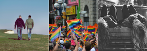 Three images of LGBT pride with gay couples and a pride parade. Contact a Sacramento therapist for online LGBT therapy in California and other services.