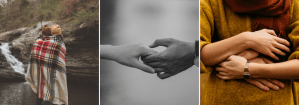Three images of couples holding hands & embracing. A Sacramento therapist can provide support with online couples therapy and marriage counseling in California today.