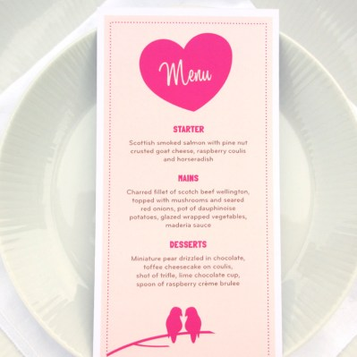 Wedding Invitation Menu Lovebirds by Love Invited
