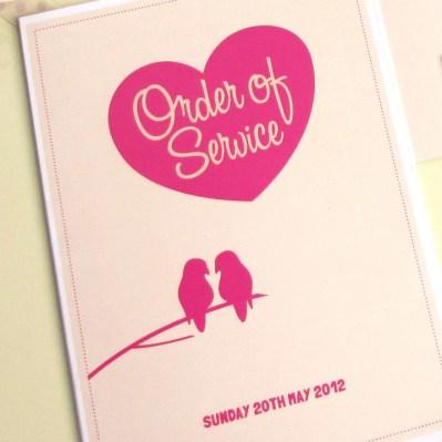 Wedding Order of Service lovebirds by Love Invited