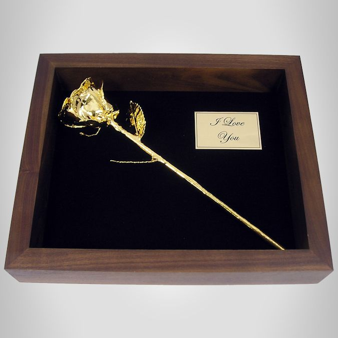 11 Gold Dipped Rose in Personalized Shadow Box Love Is A