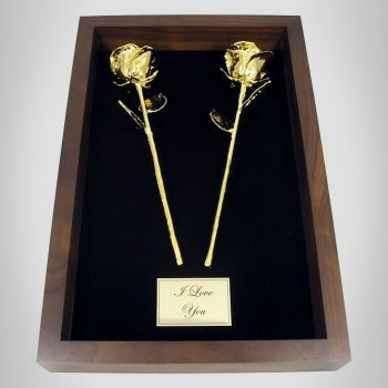2 11 Gold Roses in 50th Anniversary Gift Shadow Box