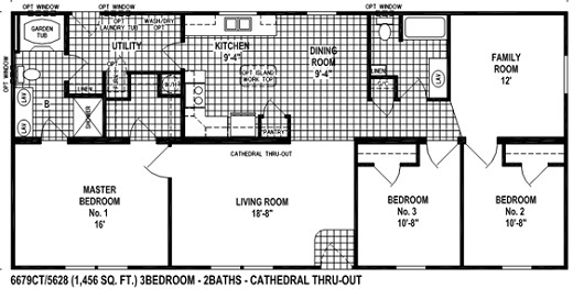 Sectional Mobile Home Floor Plan. The 6679 Spring View Select