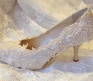 Lace covered shoes