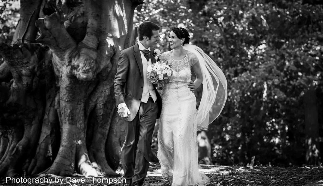 bride and groom at Combermere Abbey