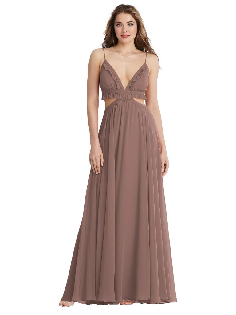 Ruffled Chiffon Cutout Maxi Dress - Jessie LB014