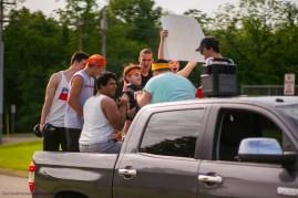 Logan Sartain, Greg Ballman, Shazeb Ahmed, Ryan Fasig, Jacob Danner and Ryan Palino on a frat-themed float