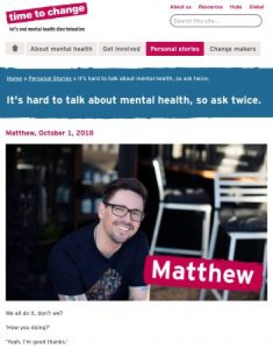 Matthew Williams time to Change ask twice