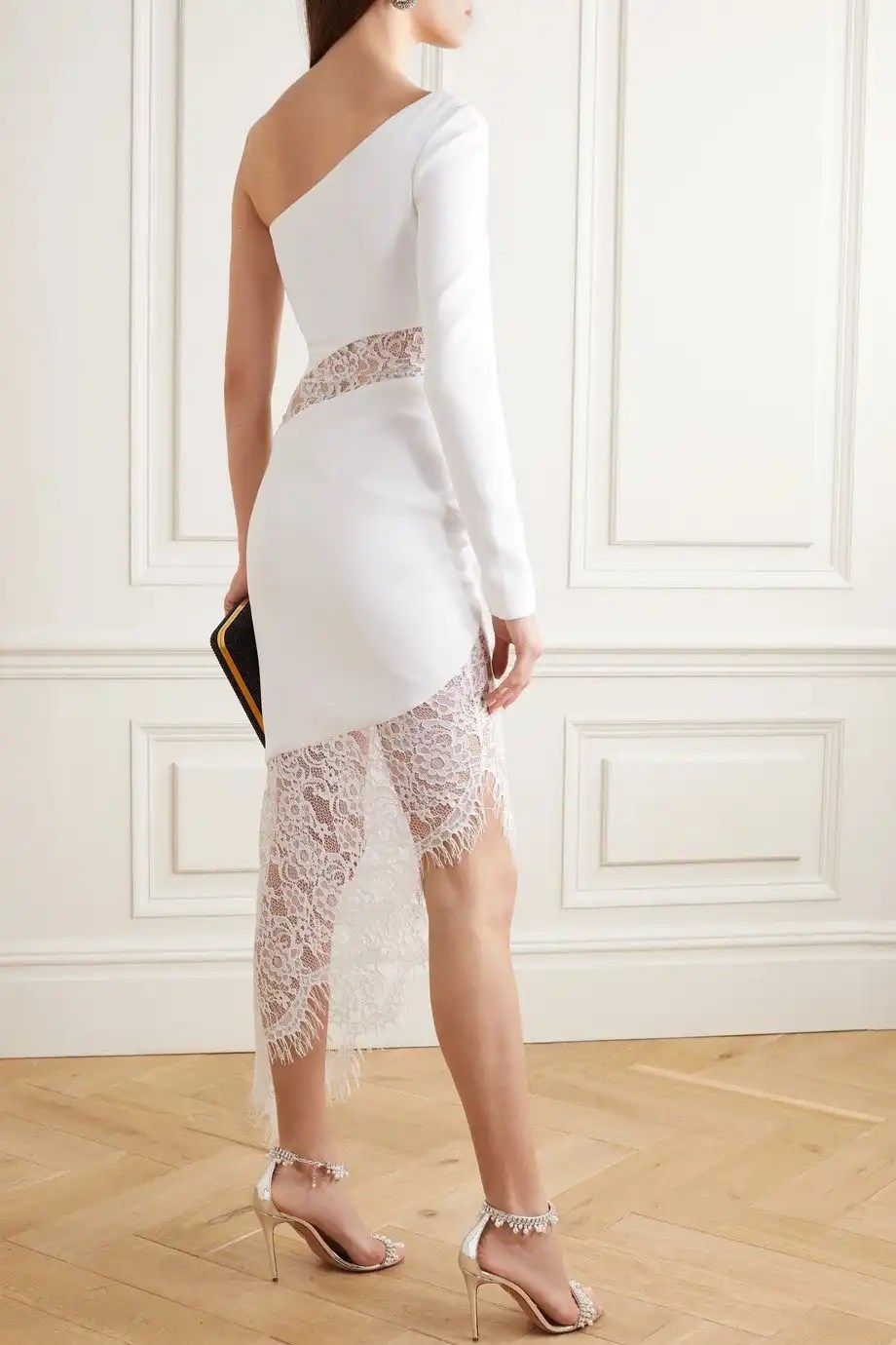 RASARIO one-sleeve lace crepe short wedding dress