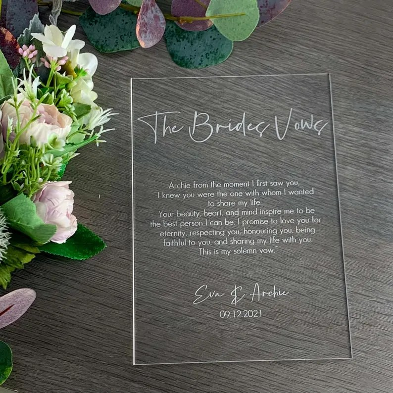 bride vows sign wedding decoration