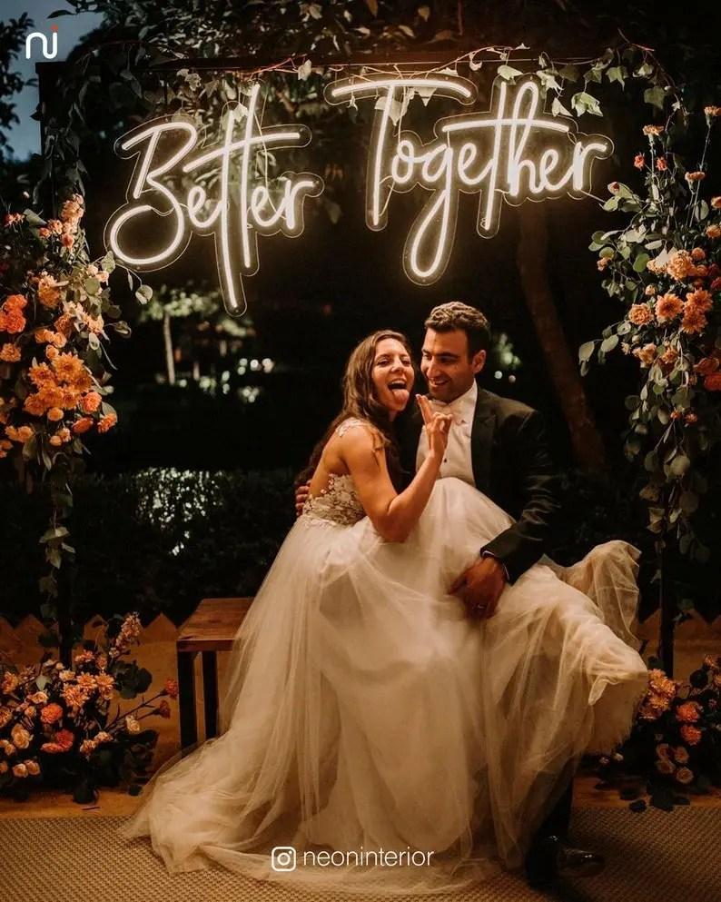 neon wedding sign on etsy