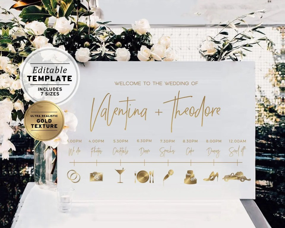 Gold Wedding Timeline & Itinerary Sign wedding decoration on etsy