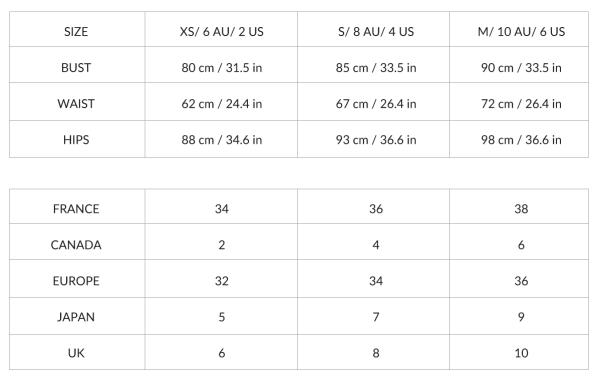 Size Chart Eurvin Swimwear Lovelings