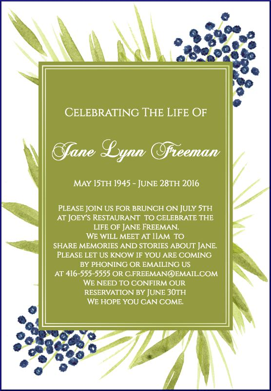 Funeral Reception Invitation Exle 3