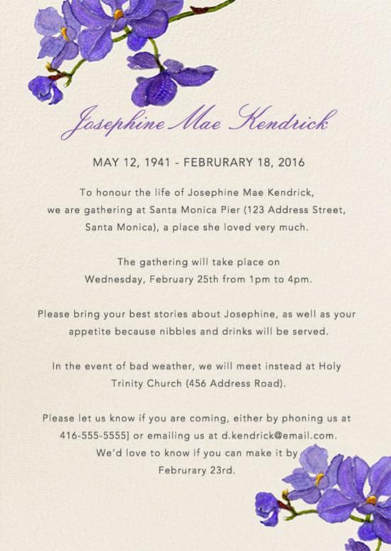 Funeral Reception Invitation Exle 7