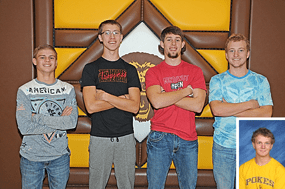 Rocky Mountain Grizzlies receiving post-season recognition are (l-r) Brian Crawford, Tristan Jewell, Gehrig Sweat and Cordell McFarlane. Inset is Garrett Vezain. David Peck photo