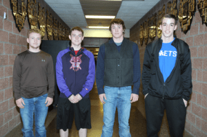 Selected for the 2016 Northwest 2A All-Conference boys basketball team were (l-r) Cordell McFarlane (honorable mention), Cole Wambeke, Travis Banks and Cole Simmons. David Peck photo
