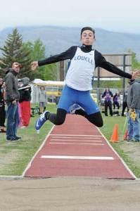 Lundberg flings himself forward on a 40-foot jump.  David Peck photo