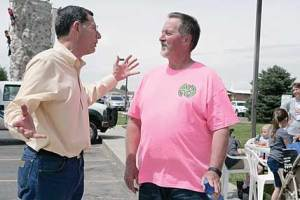 U.S. Senator John Barrasso chats with event organizer Nick Lewis at the North Big Horn Hospital Kids Health and Safety event in Lovell on Saturday. Patti Carpenter photo