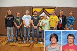 Rocky Mountain all-conference football players for 2016 are (l-r) Wyatt Horrocks, Treyson Frost, Ethan Price, Gehrig Sweat, Brian Crawford, Garrett Vezain, Cole Simmons, Tristan Jewell and (inset) Zach Zier and Triston Rusch. David Peck photo