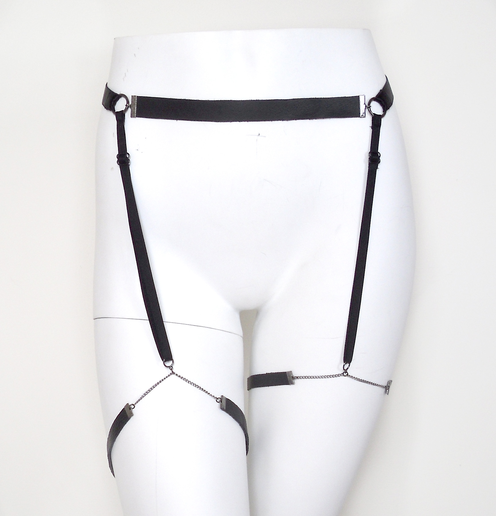leather chain garter belt, sexy gothic lingerie, fetish bdsm gear, burning  man,