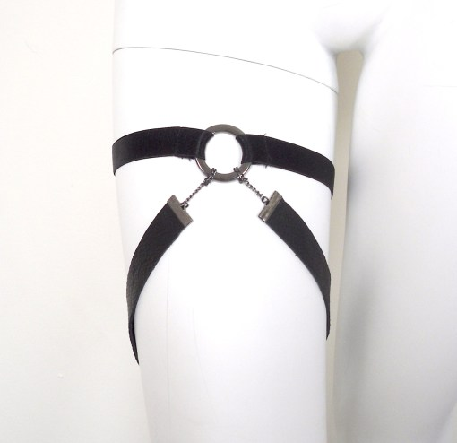 leather thigh garter band, gothic sexy lingerie, fetish bdsm gear, love lorn lingerie
