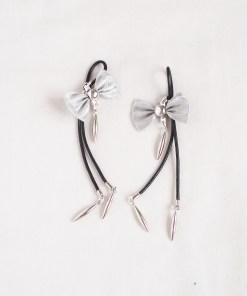 bow nipple ties, cute silver bow nipple jewelry, feminine adult sex toys, love lorn lingerie