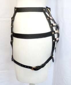 gold bar leather hip harness, love lorn lingerie